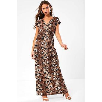 iClothing Monroe Snakeskin Print Maxi Dress In Brown-10