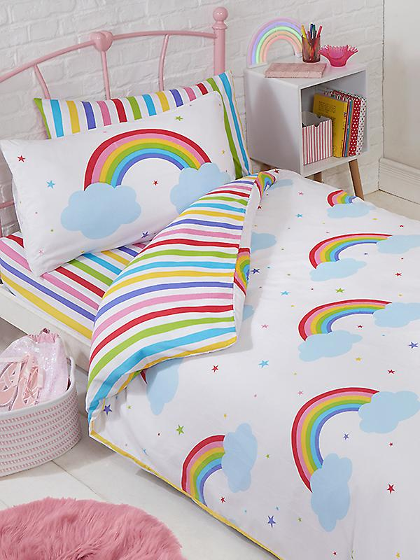 Rainbow Sky Junior Toddler Duvet Cover and Pillowcase Set