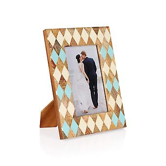 Penguin Home Handcrafted Mango wood picture frame - Diamond Pattern