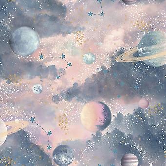 Arthouse Glitter Planets Tapety Purple Pink Blue Shimmer Cosmos Kids Vinyl