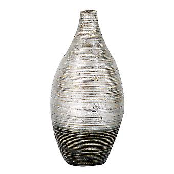 """10"""" X 10"""" X 20"""" Distressed Silver And Black Bamboo Spun Bamboo Vase"""