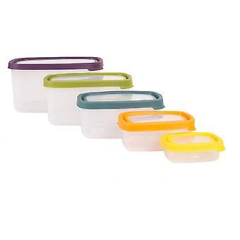 Wham opslag Seal het 5 stuk rechthoekige voedsel box set (3.8 l, 2.14 l, 1.1 l, 440ml, 115ml)