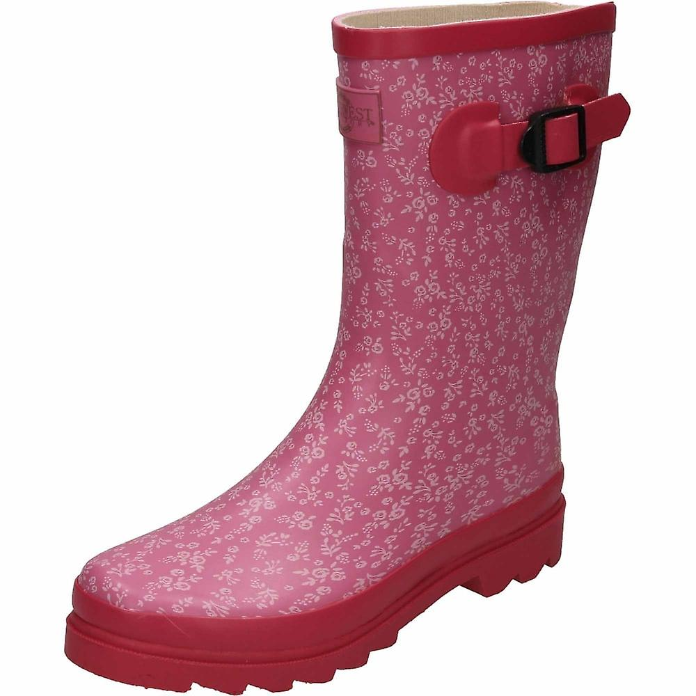 Northwest Territory Floral Print Pink Rubber Wellington Mid Calf Boots