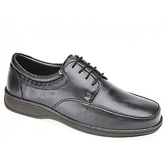 Roamers Mackenzie Mens Leather Wide E Fit Shoes Black