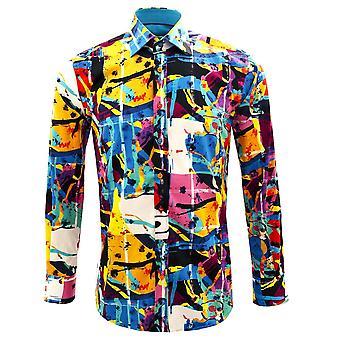 Claudio Lugli Artistic Colours Print Long Sleeve Pure Cotton Mens Shirt