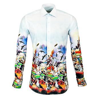 كلاوديو Lugli شاطئ البحر مشهد طباعة قميص الرجال