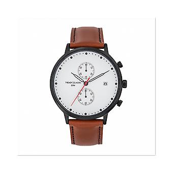 Trendy Classic WATCH CC1046-01 - Duel Chronograph Bo tier Steel Black Leather Bracelet Brown White Dial White