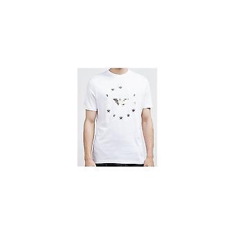 Emporio Armani bawełny drukowane Logo Orzeł biały T-shirt