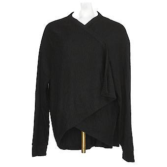 Anybody Women's Sweater Brushed Rib Hacci Cocoon Cardigan Black A310154