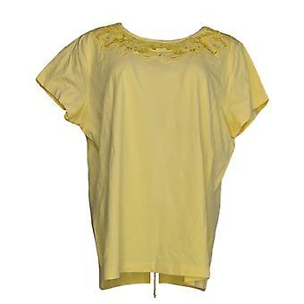 Isaac Mizrahi Live! Women's Top Floral Cut-Out Knit T-shirt Yellow A220520