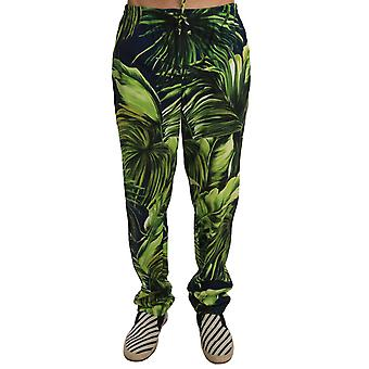 Dolce & Gabbana Green Leaves Cotton Casual Pyjamas Lounge Pants