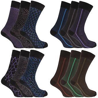 Angelo Cavalli Herren abstrakte gemusterte elastische Top Socken (3 Paar)