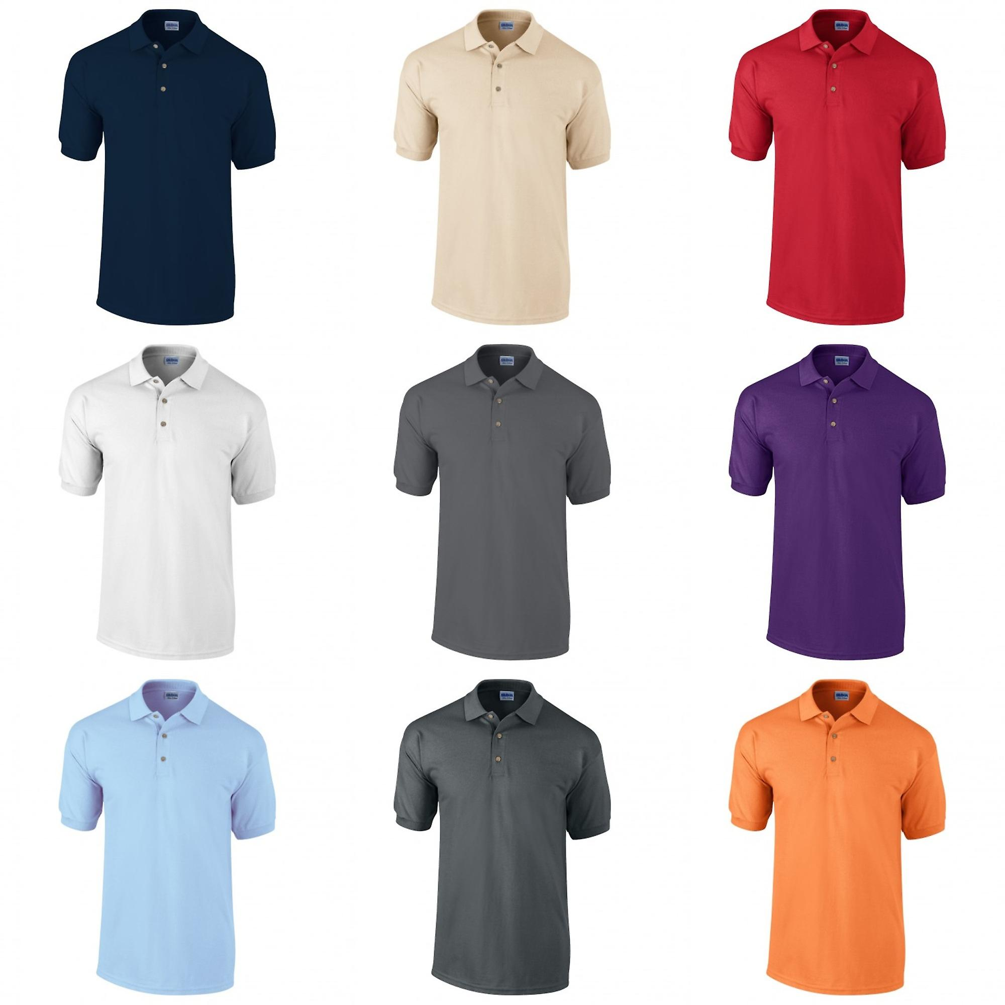 USA Fashion Mens Classic Fit Ultra Cotton Plain Pique Polo ShirtBlackWhite