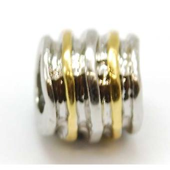 TOC BEADZ Goldtone & Silver Tone Ribbed 7mm Slide-on Bead