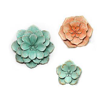 Reeks van 3 Verontruste Overweldigende Tricolor Metaalbloemen
