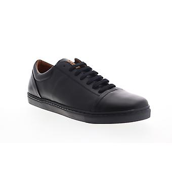 Robert Wayne Dary  Mens Black Leather Lace Up Low Top Sneakers Shoes