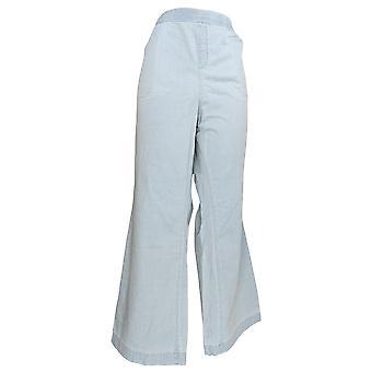 Denim & Co. Women's Plus Pants Stretch Denim Wide Leg Pull-On Blue A307144