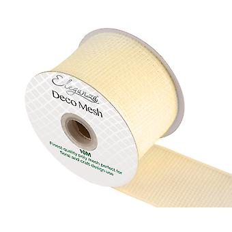 Ivory 6cm x 10m Deco Mesh Roll for Wreath Making, Floristry & Crafts