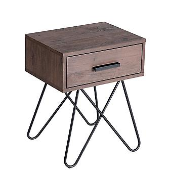 Retro Bedside Table Accent Solid Nightstand End Table Steel Leg Handled Drawer