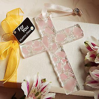 Murano Glass Collection hanging cross favors pink