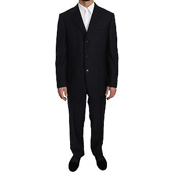 Ermenegildo Zegna Black Stripe Two Piece Three Button 100% Wool Suit