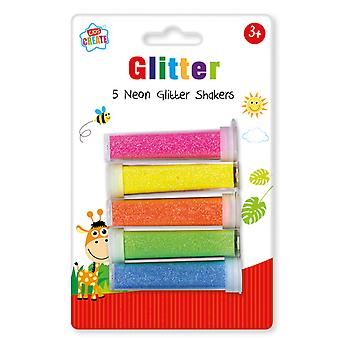 Kids Create 5 Pack Assorted Neon Glitter Shakers Childrens Arts &Crafts Set 3+