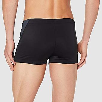 MERAKI Men's Square Leg Swim Brief, Black/Charcoal, Medium
