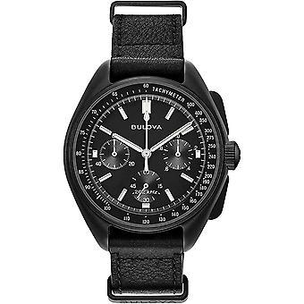 Bulova Watches 98a186 Lunar Pilot Black Leather Chronograph Men's Watch