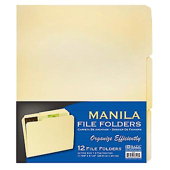 3100-48, BAZIC 1/3 Cut Letter Size Manila File Folder (12/Pack) Case of 48