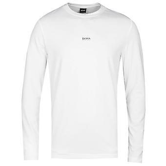 BOSS Tchark langærmet center logo hvid T-shirt