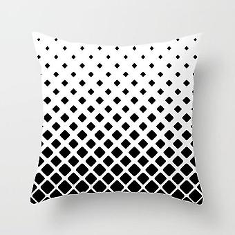 Black And White Polyester Throw Pillow Case Striped Dotted Grid Triangular
