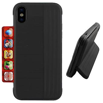 Colorfone iPhone XS Max Shell com tripé e porta-cartas (preto)