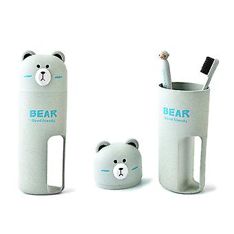 Cute Portable Bears Toothbrush Cups, Storage Boxes, Bottle Case For Bathroom