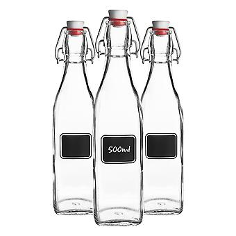 Bormioli Rocco 3pc Lavagna Glass Swing Top Bottle Set met Krijtbord Label - For Preserving, Home Brew - 500ml