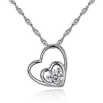 Hearts And Arrows Double Hearts Pendant Necklace
