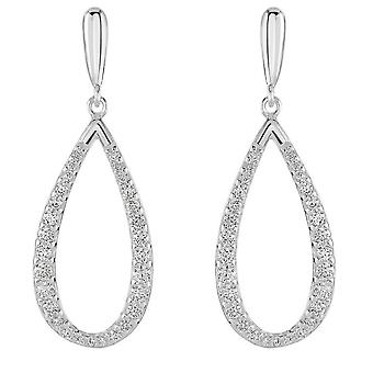 Dew Sterling Argent Elliptical Cubic Zirconia Drop Boucles d'oreilles 5548CZ027