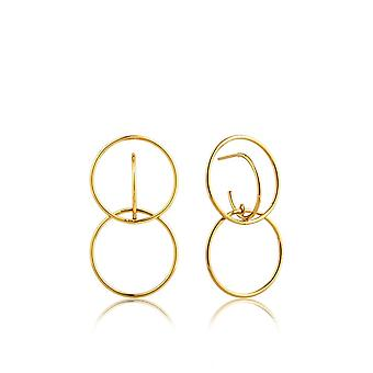 Ania Haie Silver Shiny Gold Plated Double Circle Front Earrings E008-18G