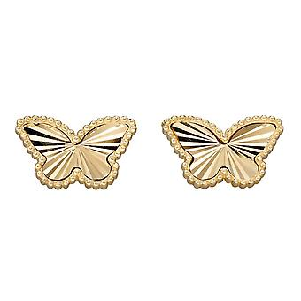 Elements Gold 9ct Granulation And Diamond Cut Gold Butterfly Stud Earrings GE2349