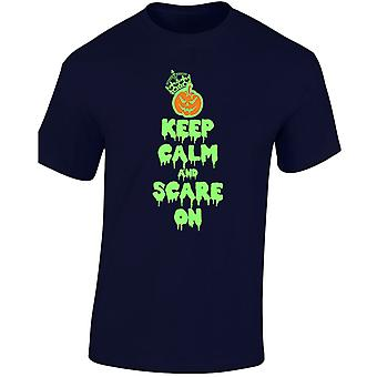 Houd kalm en schrikken op Halloween Fancy Dress gloed In Mens T-Shirt 10 kleuren (S-3XL) door swagwear