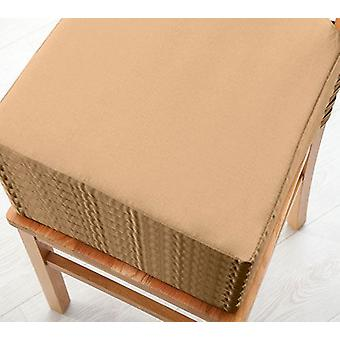 Beige8pk Seat Pad Cushions with Secure Fastening Dining Kitchen Chairs Soft Cotton Twill