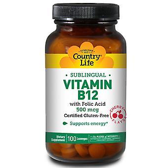 Country Life B-12-vitamiini foolihapon sublingualilla, 500 MCG, 100 loz