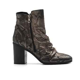 Python Print Leather Ankle Boot with High Heel