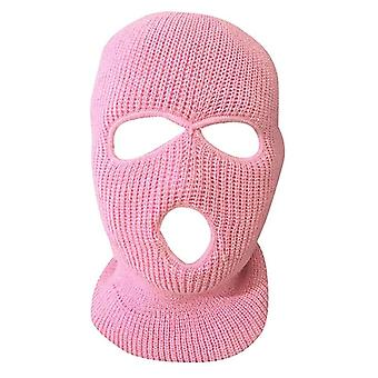 Full Face Cover Masca-3 Hole Balaclava Knit Hat Armata tactice, Cs de iarnă de schi