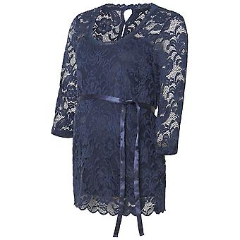 Women Top Maternity Shirt Elegant Lace Flower Mamalicious Buttons Round Neck Stretch
