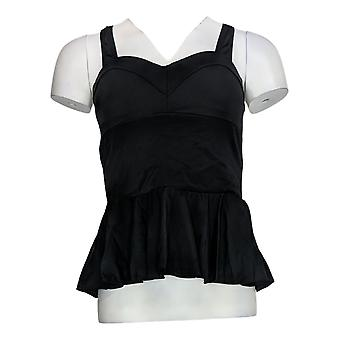 G.I.L.I Women's Swimwear Peplum Tankini W/ Sweetheart Neck Black A375137
