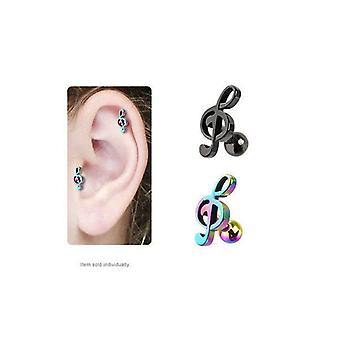 Ip treble clef music note cartilage / tragus stud earring