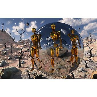 An advanced civilization uses time and dimensional travel spheres to send out robotic exploration teams to explore all parts of time and space Poster Print