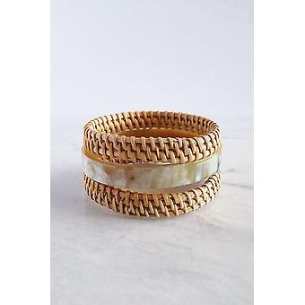Buffalo Horn & Handwoven Rattan Bangle Bracelets