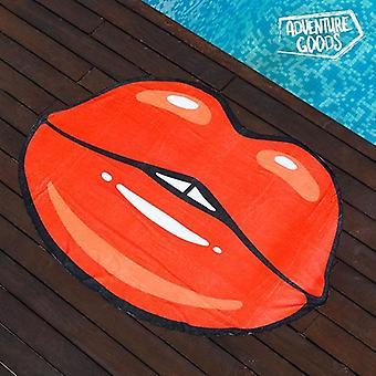 De Lippen van de strandhanddoek