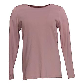 Denim & Co. Kvinder's Top (XXS) Essentials W / Satin Trim Pink A372568